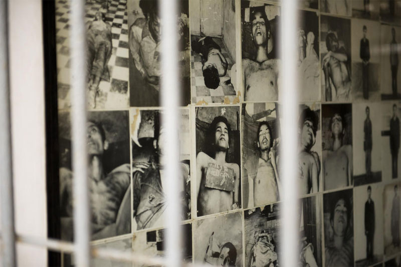 A wall of photos at the Tuol Sleng Genocide Museum in Phnom Penh, Cambodia, the site of infamous Security Prison S-21, documents the Khmer Rouge's brutal treatment of detainees. UN Photo/Mark Garten